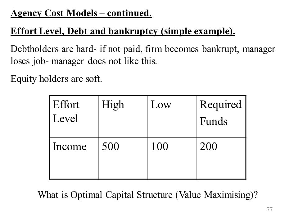 77 Agency Cost Models – continued. Effort Level, Debt and bankruptcy (simple example). Debtholders are hard- if not paid, firm becomes bankrupt, manag