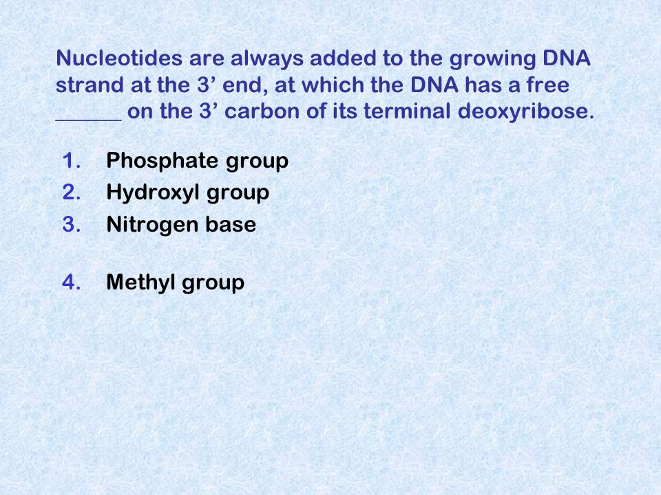 Nucleotides are always added to the growing DNA strand at the 3 end, at which the DNA has a free ______ on the 3 carbon of its terminal deoxyribose. 1