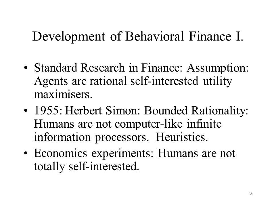 2 Development of Behavioral Finance I.