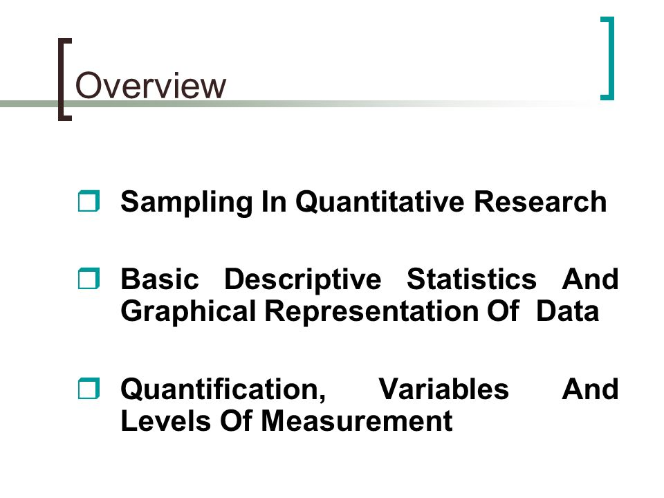 Overview Sampling In Quantitative Research Basic Descriptive Statistics And Graphical Representation Of Data Quantification, Variables And Levels Of M