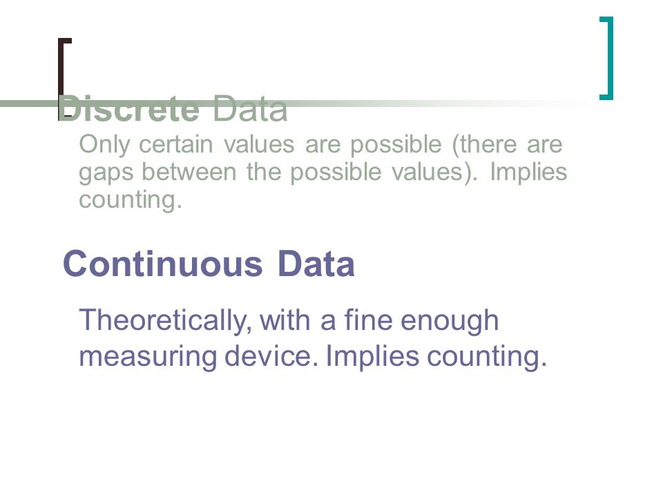 Discrete Data Only certain values are possible (there are gaps between the possible values). Implies counting. Continuous Data Theoretically, with a f