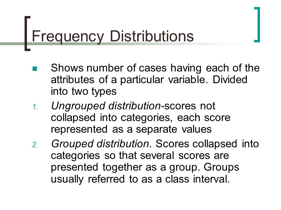 Frequency Distributions Shows number of cases having each of the attributes of a particular variable. Divided into two types 1. Ungrouped distribution