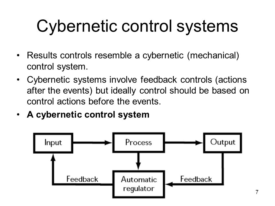 7 Cybernetic control systems Results controls resemble a cybernetic (mechanical) control system.