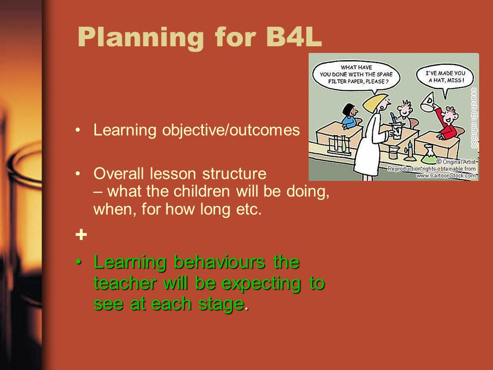 Planning for B4L Learning objective/outcomes Overall lesson structure – what the children will be doing, when, for how long etc.