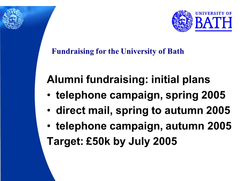 Fundraising for the University of Bath Alumni fundraising: initial plans telephone campaign, spring 2005 direct mail, spring to autumn 2005 telephone campaign, autumn 2005 Target: £50k by July 2005