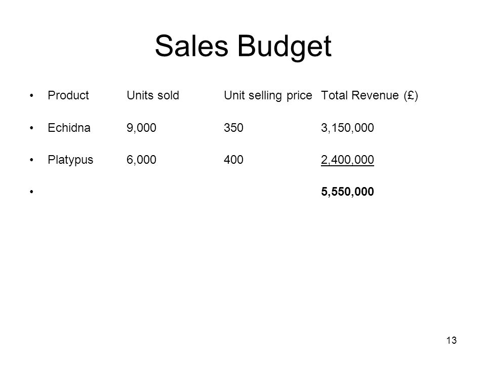 13 Sales Budget ProductUnits soldUnit selling priceTotal Revenue (£) Echidna9,0003503,150,000 Platypus6,0004002,400,000 5,550,000