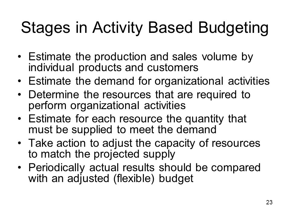 23 Stages in Activity Based Budgeting Estimate the production and sales volume by individual products and customers Estimate the demand for organizati