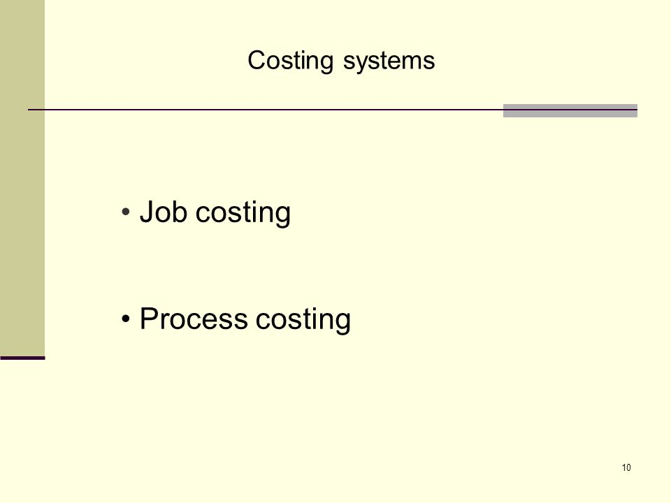 10 Costing systems Job costing Process costing