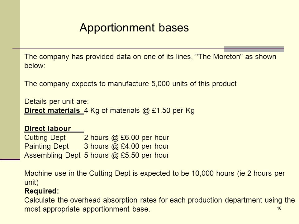 16 Apportionment bases The company has provided data on one of its lines, The Moreton as shown below: The company expects to manufacture 5,000 units of this product Details per unit are: Direct materials4 Kg of materials @ £1.50 per Kg Direct labour Cutting Dept2 hours @ £6.00 per hour Painting Dept3 hours @ £4.00 per hour Assembling Dept5 hours @ £5.50 per hour Machine use in the Cutting Dept is expected to be 10,000 hours (ie 2 hours per unit) Required: Calculate the overhead absorption rates for each production department using the most appropriate apportionment base.