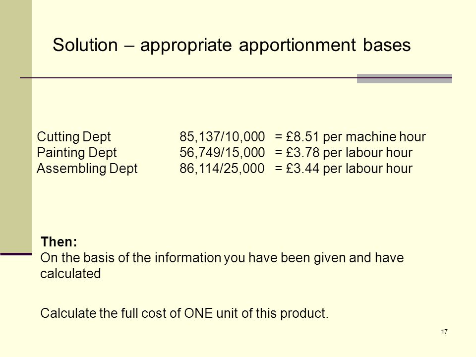 17 Solution – appropriate apportionment bases Cutting Dept85,137/10,000= £8.51 per machine hour Painting Dept56,749/15,000= £3.78 per labour hour Asse