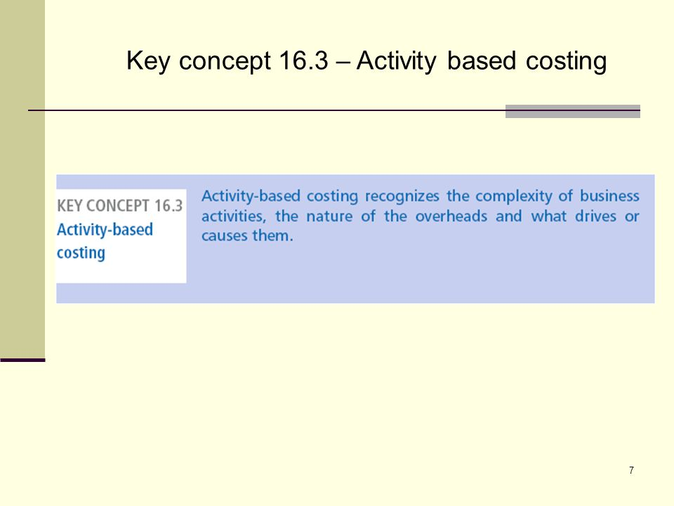 7 Key concept 16.3 – Activity based costing