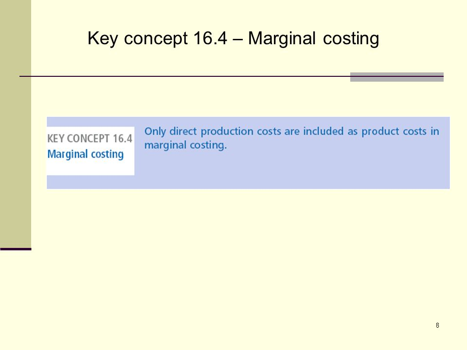 8 Key concept 16.4 – Marginal costing