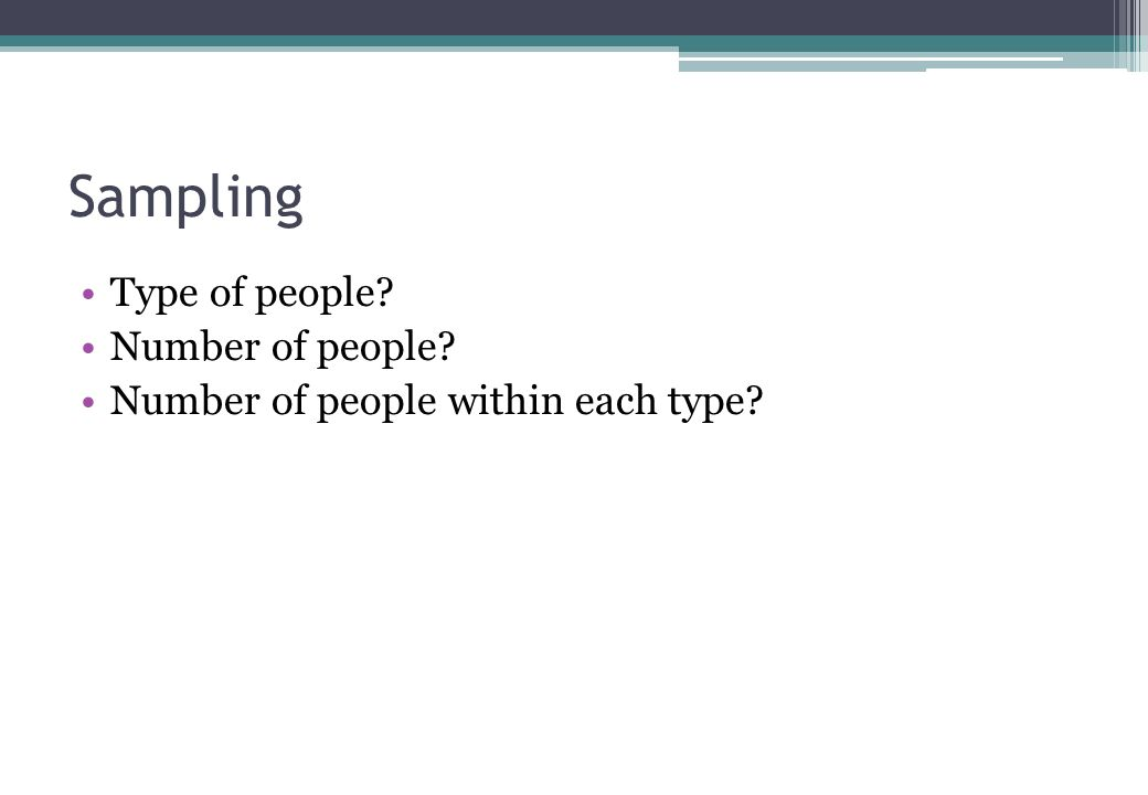 Sampling Type of people Number of people Number of people within each type