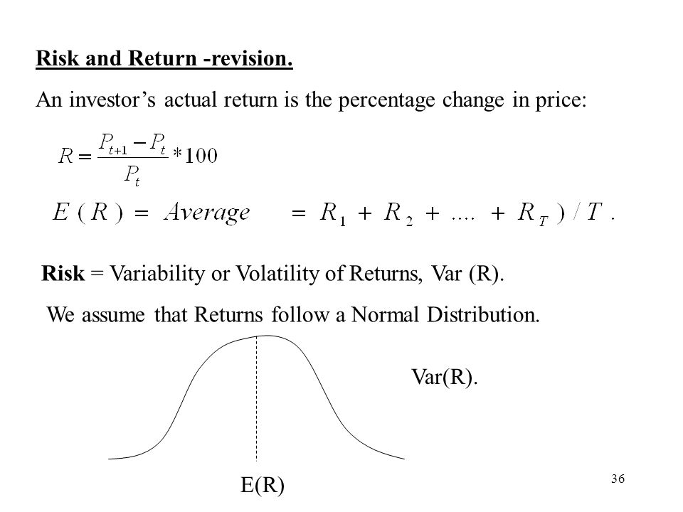 36 Risk and Return -revision. An investors actual return is the percentage change in price: Risk = Variability or Volatility of Returns, Var (R). We a