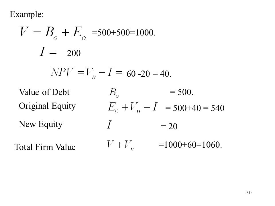 50 Example: =500+500=1000. 60 -20 = 40. = 500. = 500+40 = 540 = 20 =1000+60=1060. 200 Value of Debt Original Equity New Equity Total Firm Value