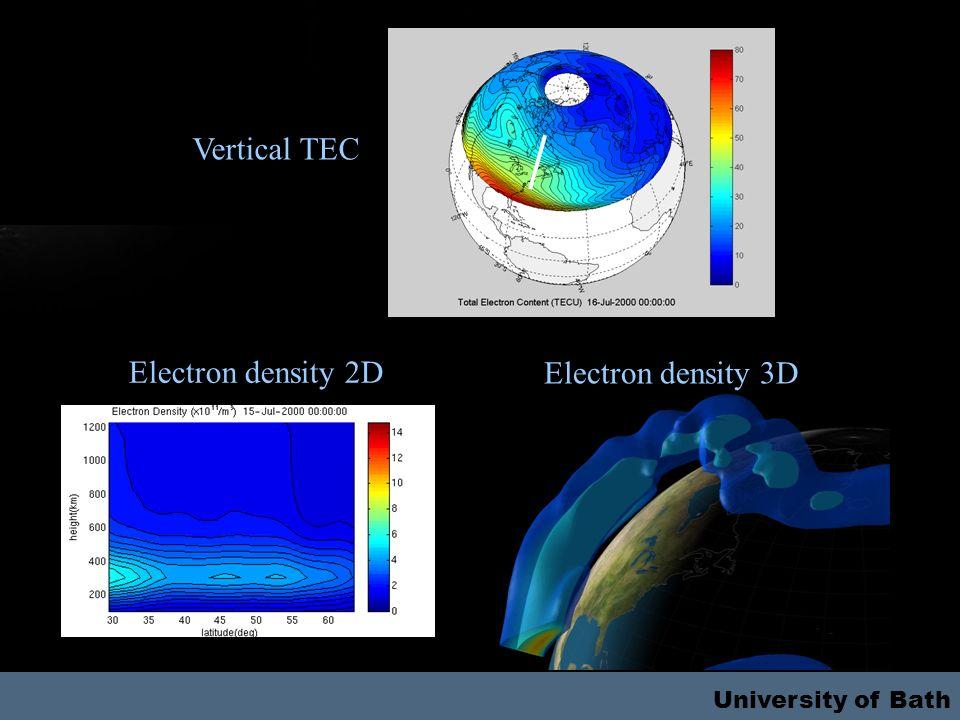 University of Bath Vertical TEC Electron density 2D Electron density 3D