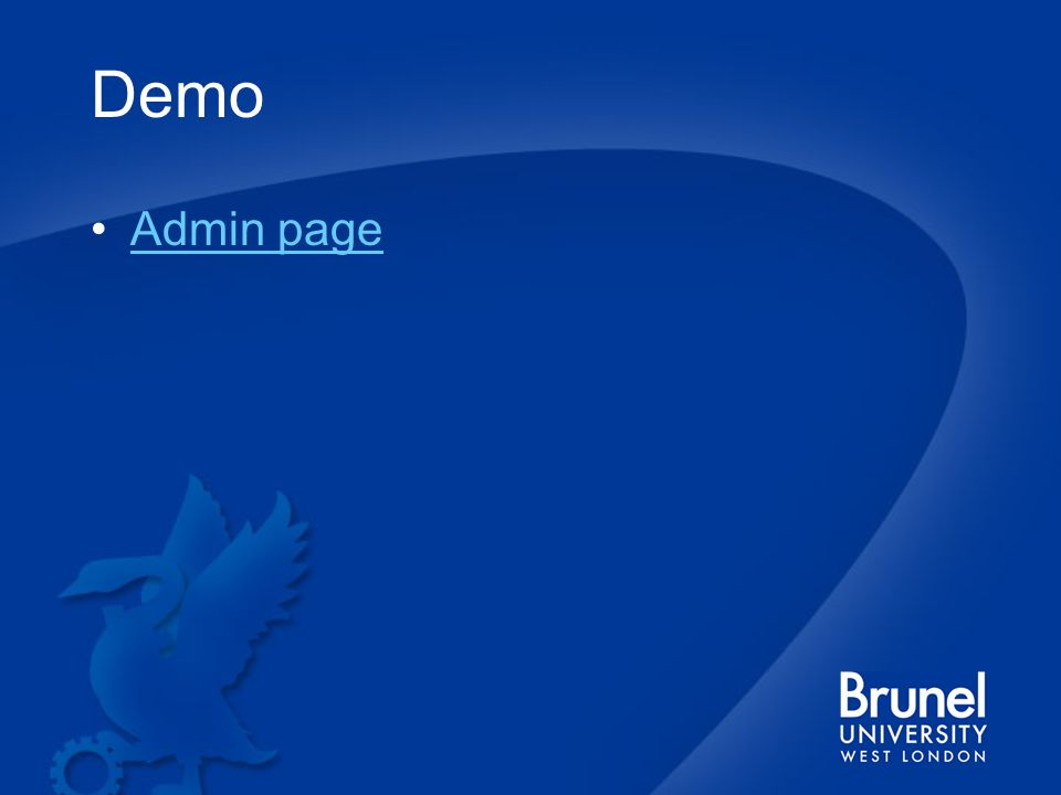 Demo Admin page