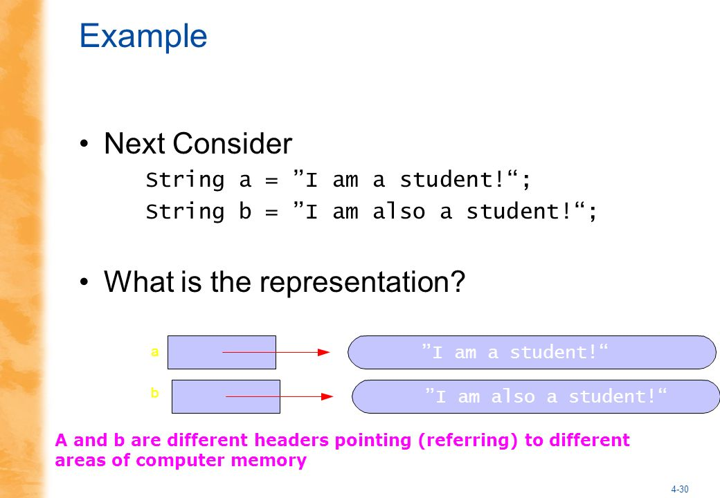 4-30 Example Next Consider String a = I am a student!; String b = I am also a student!; What is the representation.