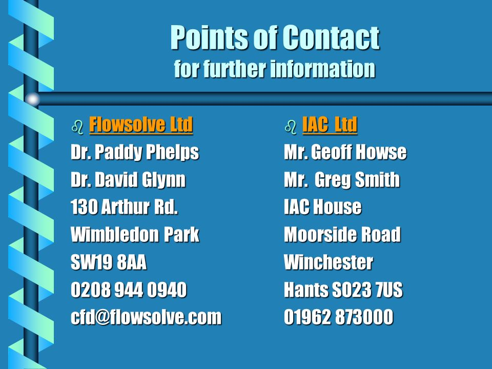 Points of Contact for further information b Flowsolve Ltd Dr.