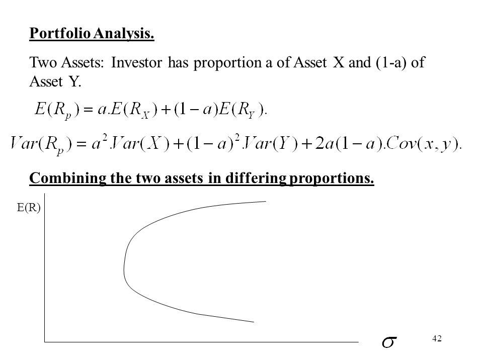 42 Portfolio Analysis. Two Assets: Investor has proportion a of Asset X and (1-a) of Asset Y. Combining the two assets in differing proportions. E(R)