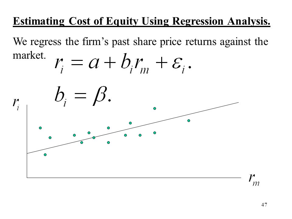 47 Estimating Cost of Equity Using Regression Analysis. We regress the firms past share price returns against the market.