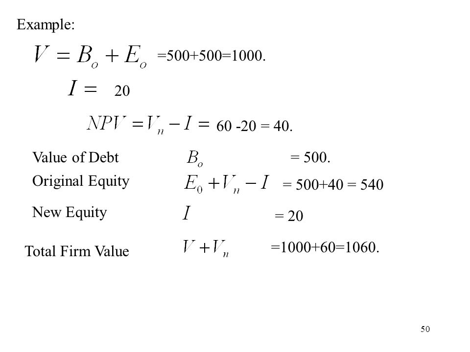 50 Example: =500+500=1000. 60 -20 = 40. = 500. = 500+40 = 540 = 20 =1000+60=1060. 20 Value of Debt Original Equity New Equity Total Firm Value