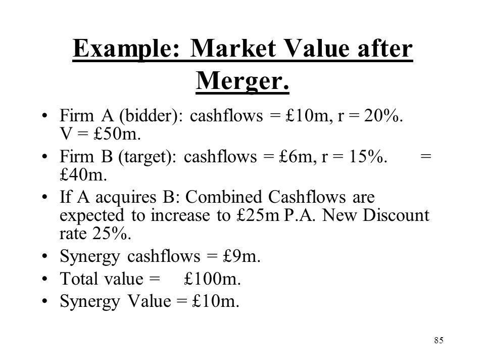 85 Example: Market Value after Merger. Firm A (bidder): cashflows = £10m, r = 20%. V = £50m. Firm B (target): cashflows = £6m, r = 15%. = £40m. If A a