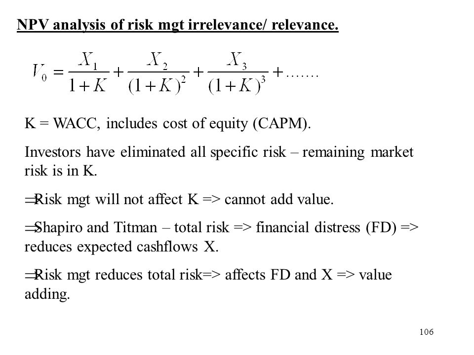 106 NPV analysis of risk mgt irrelevance/ relevance. K = WACC, includes cost of equity (CAPM). Investors have eliminated all specific risk – remaining