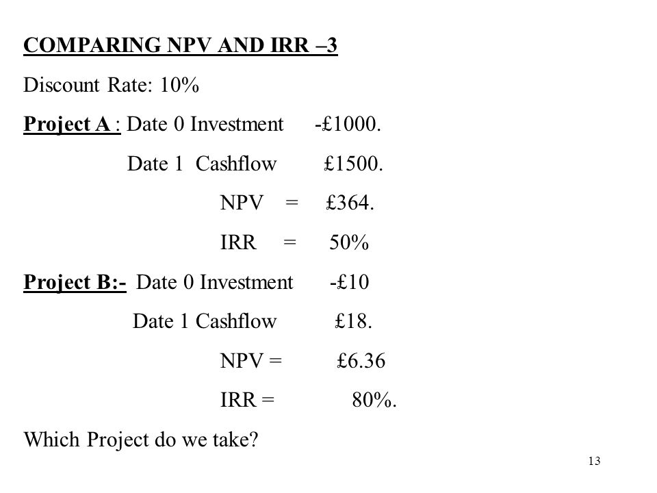 13 COMPARING NPV AND IRR –3 Discount Rate: 10% Project A : Date 0 Investment -£1000. Date 1 Cashflow £1500. NPV = £364. IRR = 50% Project B:- Date 0 I