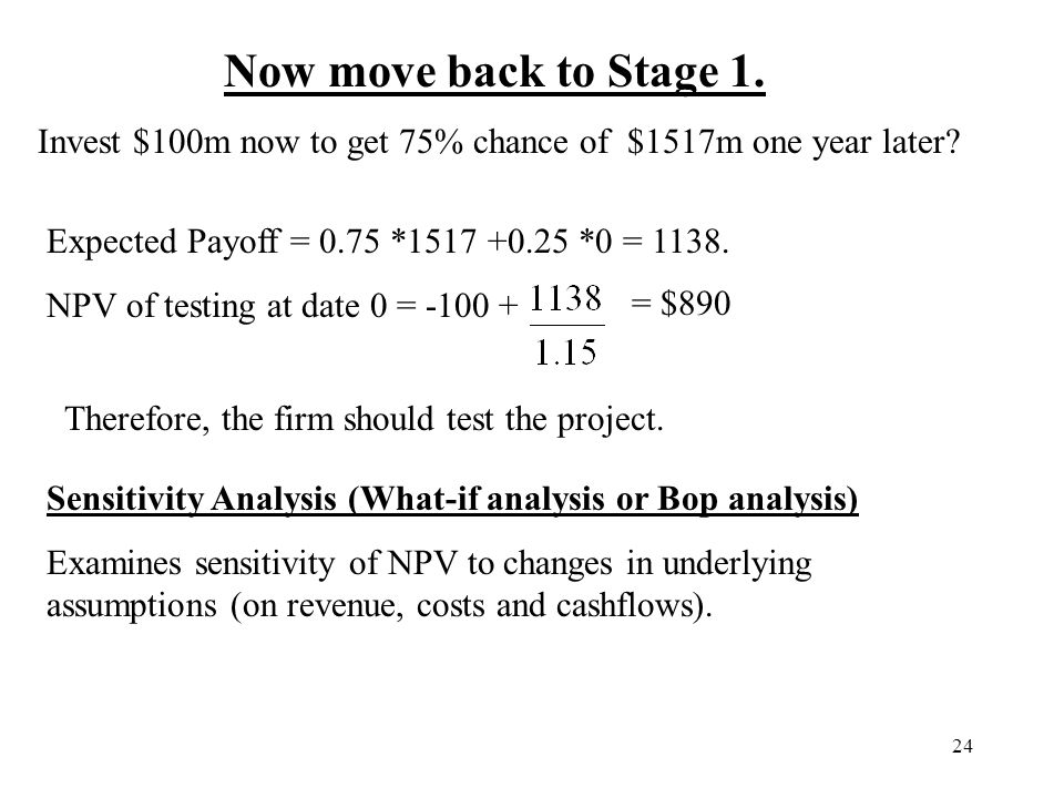 24 Now move back to Stage 1. Invest $100m now to get 75% chance of $1517m one year later? Expected Payoff = 0.75 *1517 +0.25 *0 = 1138. NPV of testing