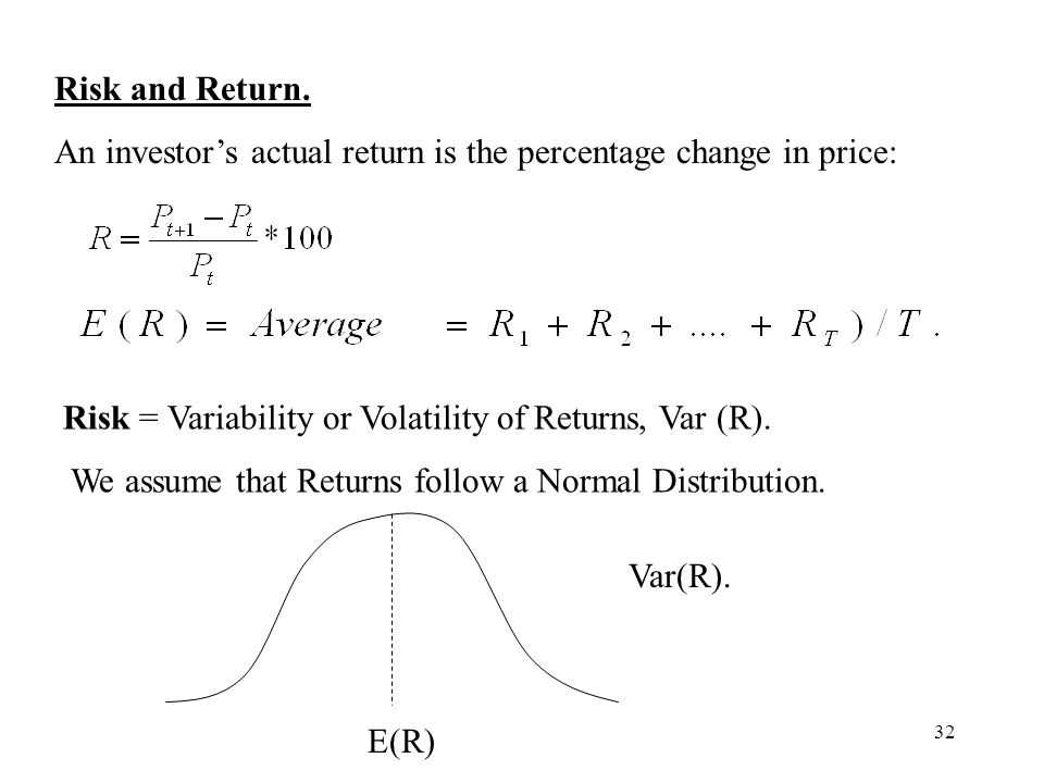 32 Risk and Return. An investors actual return is the percentage change in price: Risk = Variability or Volatility of Returns, Var (R). We assume that