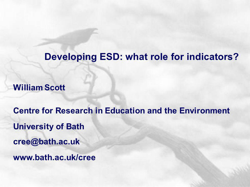 Developing ESD: what role for indicators.