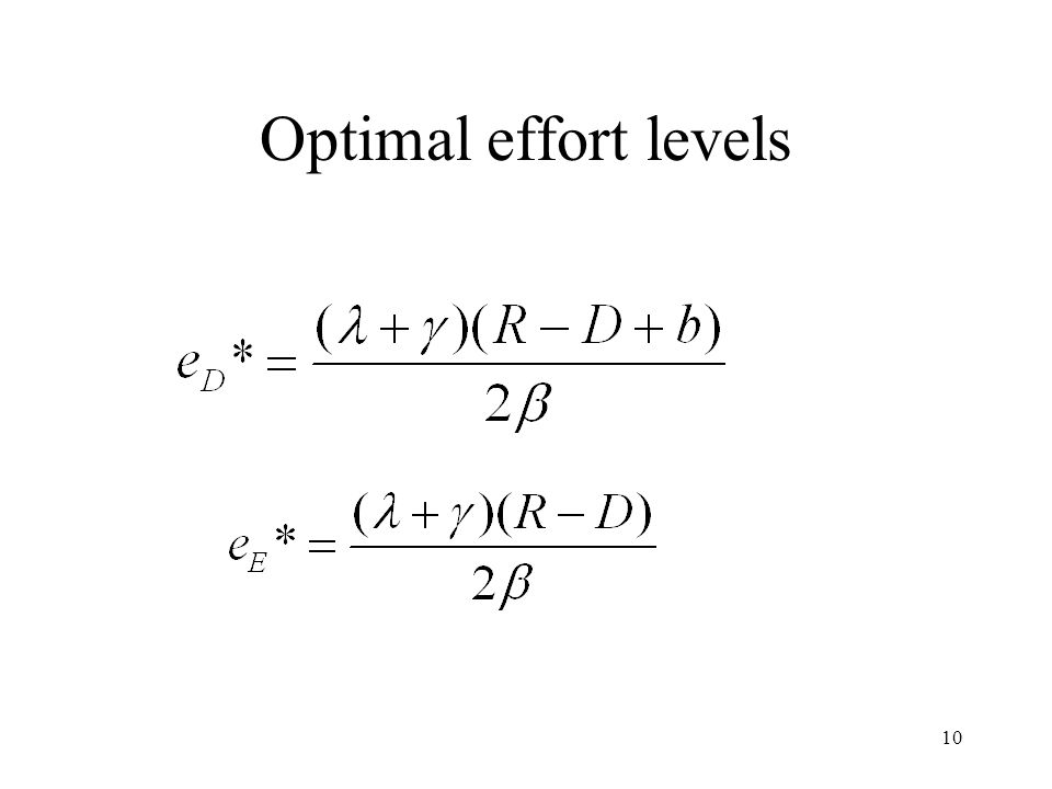 10 Optimal effort levels