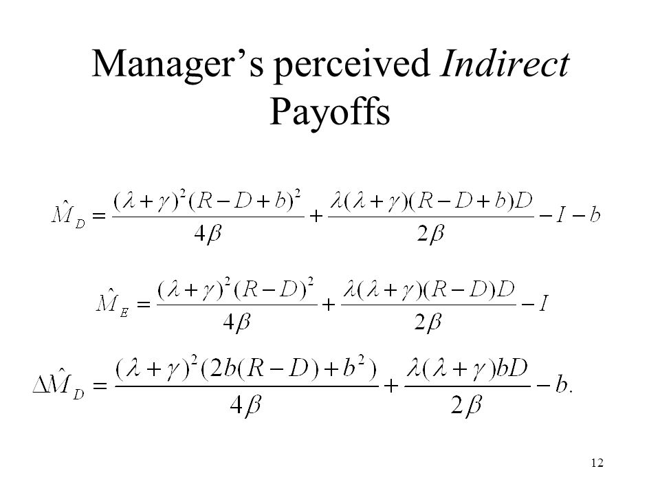 12 Managers perceived Indirect Payoffs