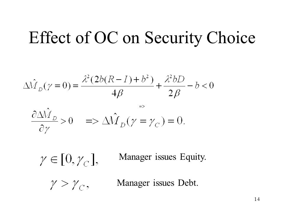 14 Effect of OC on Security Choice Manager issues Equity. Manager issues Debt.