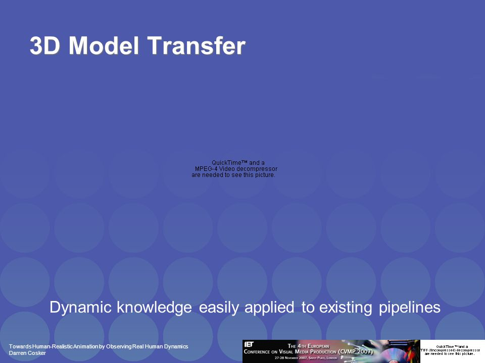 Towards Human-Realistic Animation by Observing Real Human Dynamics Darren Cosker 3D Model Transfer Dynamic knowledge easily applied to existing pipelines