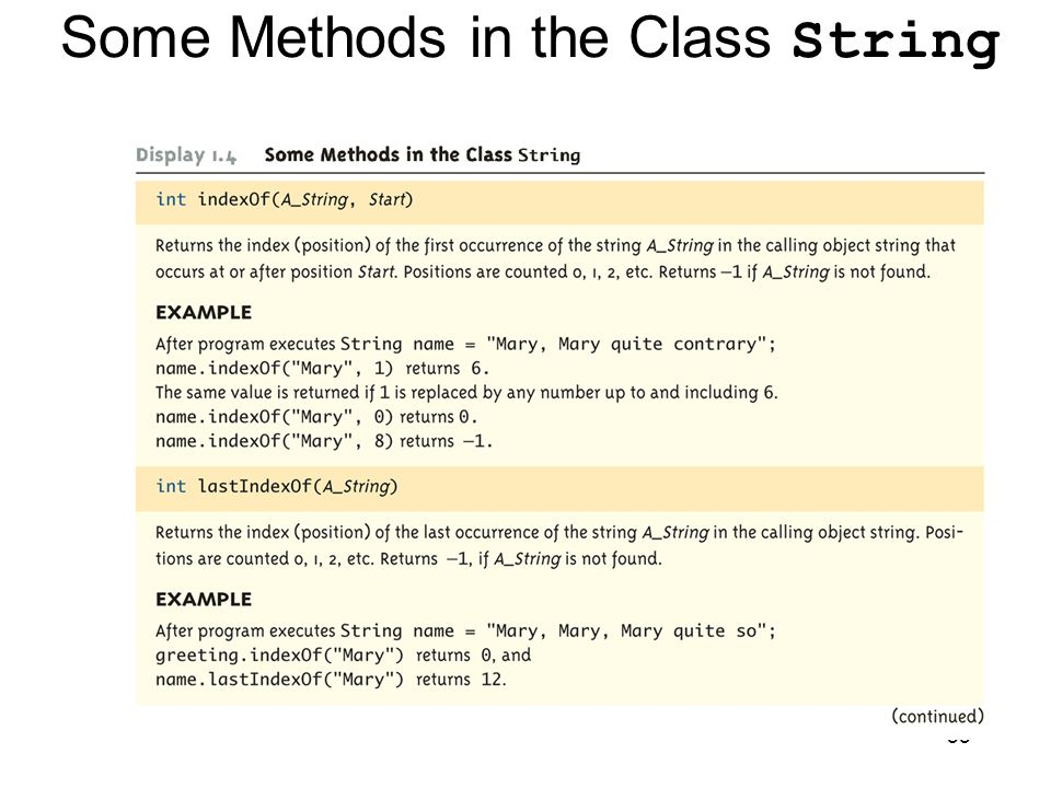 55 Some Methods in the Class String