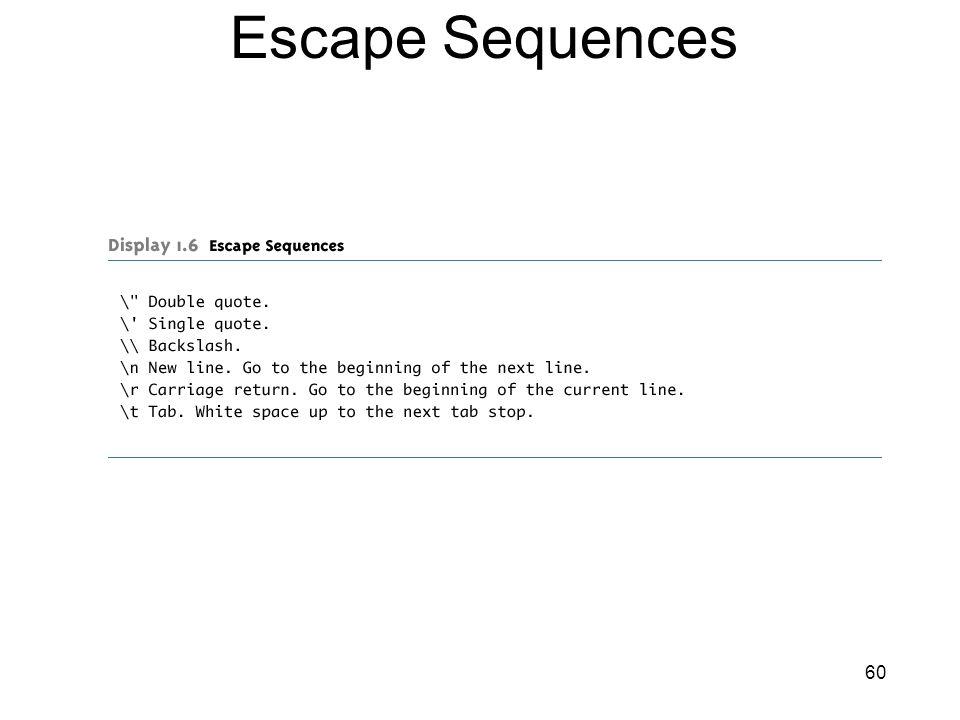 60 Escape Sequences