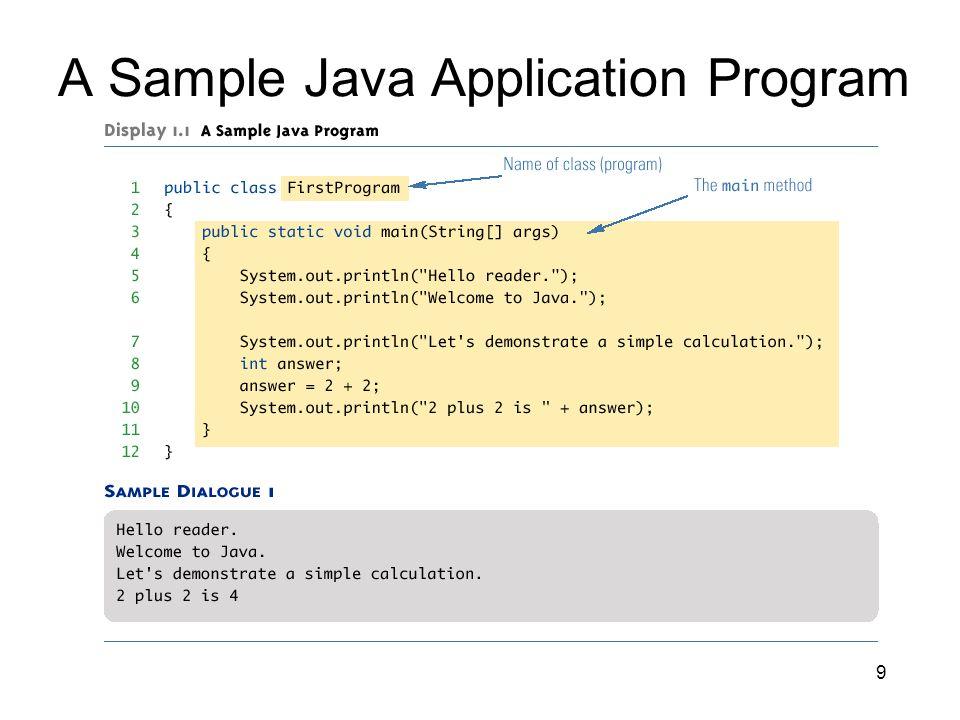 9 A Sample Java Application Program