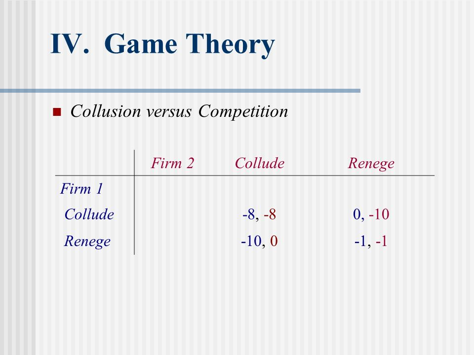 IV. Game Theory Collusion versus Competition Firm 2ColludeRenege Firm 1 Collude-8, -80, -10 Renege-10, 0-1, -1