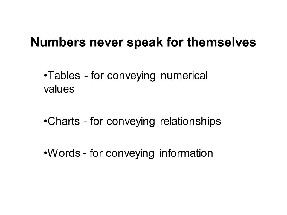 Numbers never speak for themselves Tables - for conveying numerical values Charts - for conveying relationships Words - for conveying information