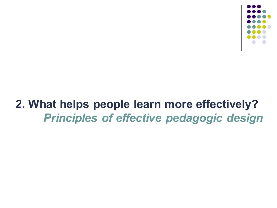 Principles of effective learning design People learn more effectively when: They are active They are motivated and engaged Their existing capabilities are brought into play They are appropriately challenged zone of proximal development scaffolding differentiation They have opportunities for dialogue (with tutors, mentors or peers) They receive feedback (intrinsic or extrinsic) They have opportunities for consolidation and integration