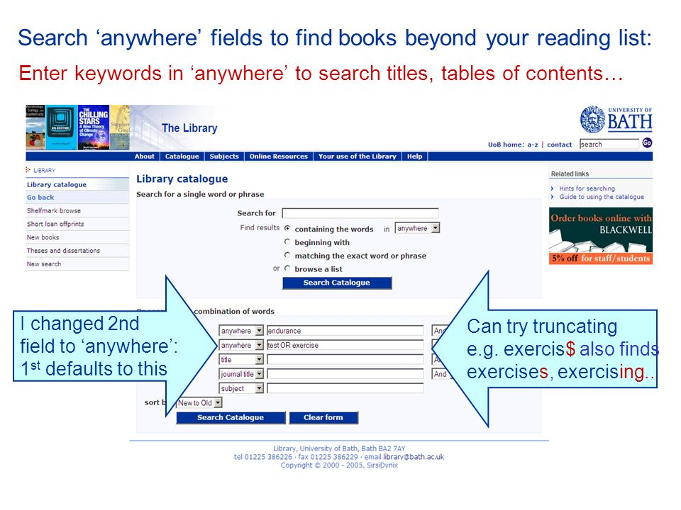 Search anywhere fields to find books beyond your reading list: Enter keywords in anywhere to search titles, tables of contents… I changed 2nd field to anywhere: 1 st defaults to this Can try truncating e.g.