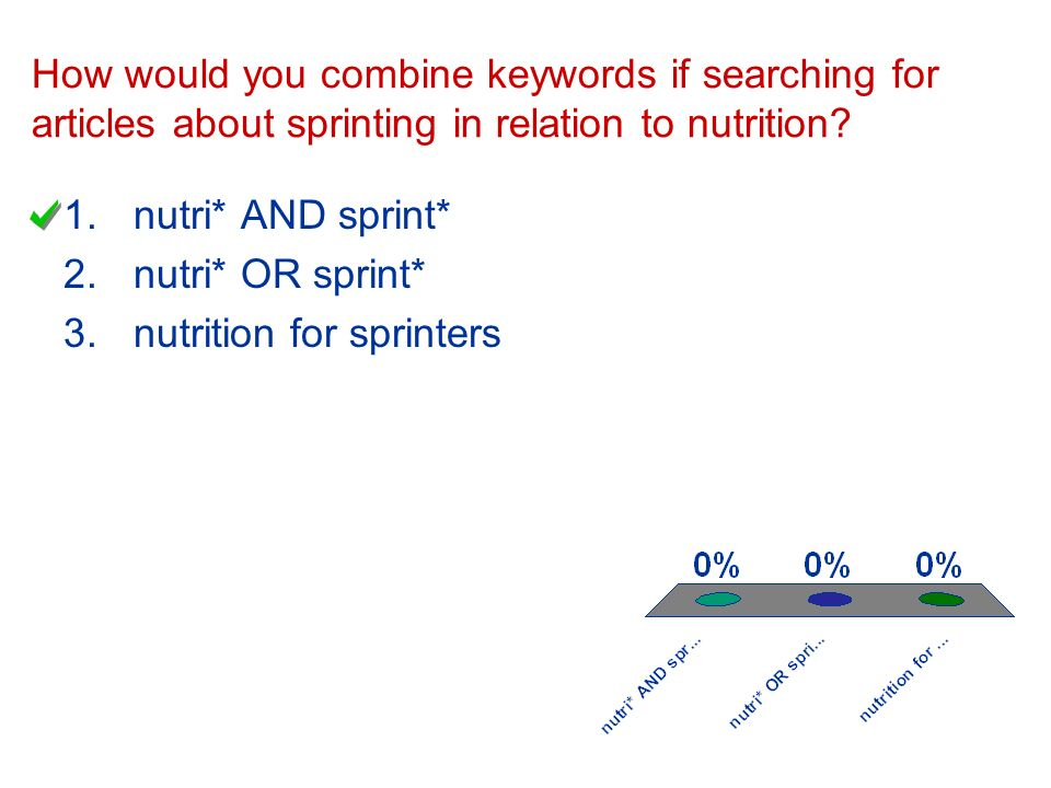 How would you combine keywords if searching for articles about sprinting in relation to nutrition.
