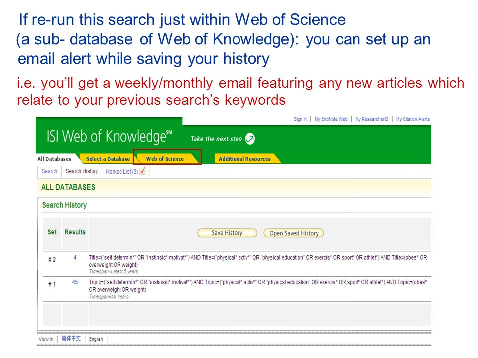 If re-run this search just within Web of Science (a sub- database of Web of Knowledge): you can set up an email alert while saving your history i.e.