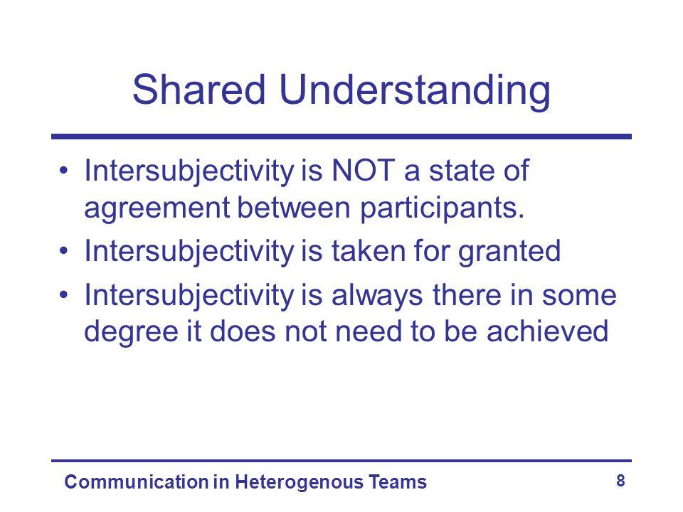 Communication in Heterogenous Teams 8 Shared Understanding Intersubjectivity is NOT a state of agreement between participants. Intersubjectivity is ta
