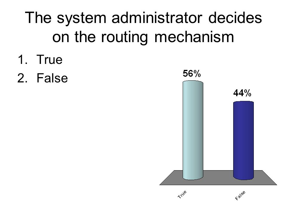The system administrator decides on the routing mechanism 1.True 2.False