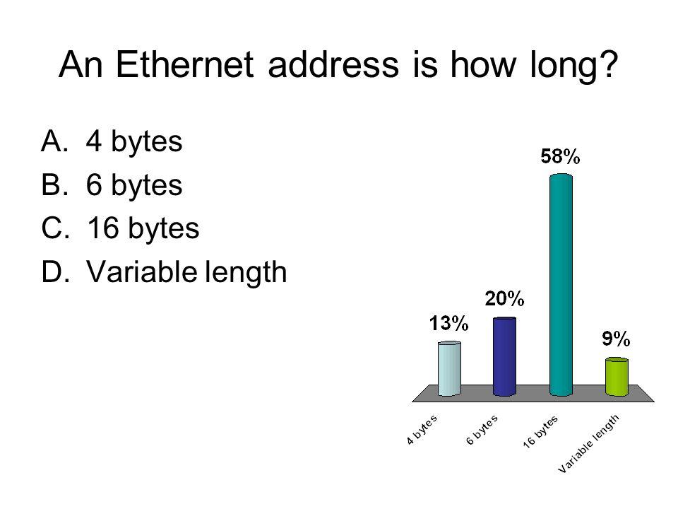 An Ethernet address is how long? A.4 bytes B.6 bytes C.16 bytes D.Variable length