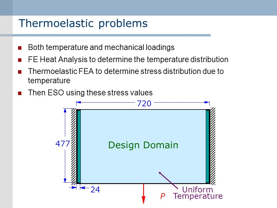 Thermoelastic problems Both temperature and mechanical loadings FE Heat Analysis to determine the temperature distribution Thermoelastic FEA to determine stress distribution due to temperature Then ESO using these stress values 477 720 24 Design Domain P Uniform Temperature