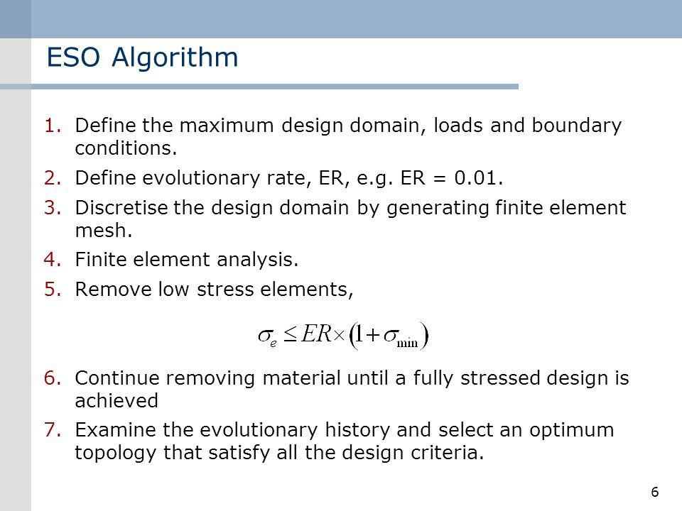 6 ESO Algorithm 1.Define the maximum design domain, loads and boundary conditions. 2.Define evolutionary rate, ER, e.g. ER = 0.01. 3.Discretise the de